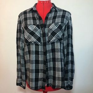 Express Women's Plaid Button Down Black and White Size Small Petite